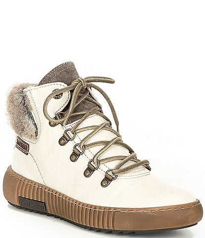 Josef Seibel Maren 17 Leather Faux Fur Lace-Up Sneaker Booties