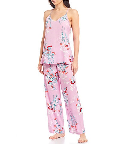 Josie Meadow Floral Print Washed Satin Pajama Set