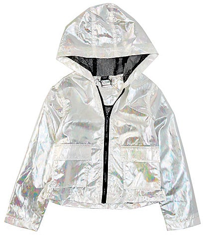 Jou Jou Big Girls 7-16 Iridescent Windbreaker Zip Front Jacket
