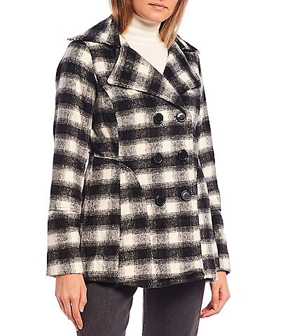 Jou Jou Buffalo Plaid Double Breasted Peacoat