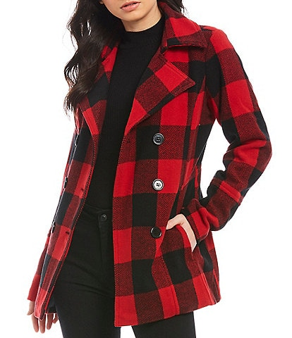 Jou Jou Buffalo Plaid Peacoat Jacket