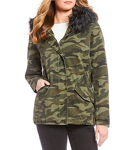 Jou Jou Canvas Camo Faux Fur Hooded Jacket