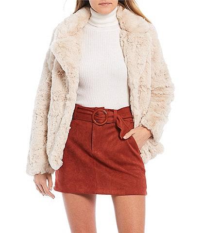 Jou Jou Cozy Faux Fur Notched Collar Jacket