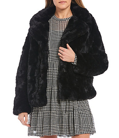 Jou Jou Cozy Faux Fur Notched Collar Jacket