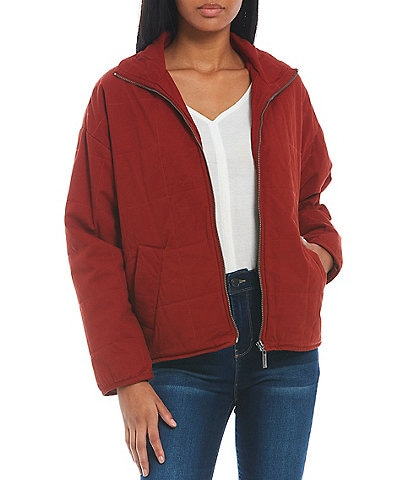 Jou Jou Long Sleeve Pigment Washed Front Zip Quilted Jacket
