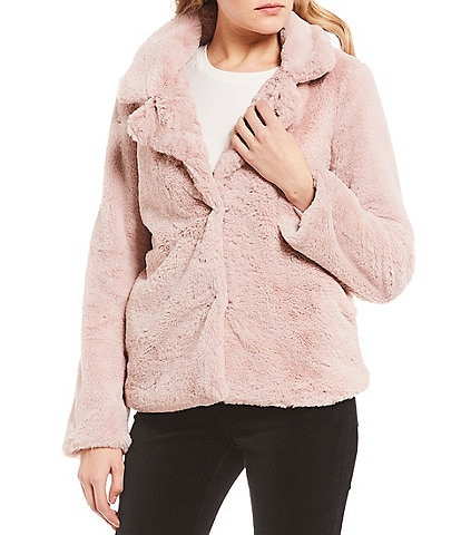 Jou Jou Textured Faux Fur Notched Collar Jacket