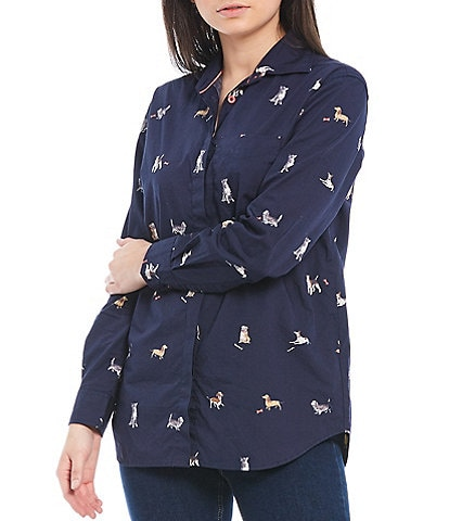 Joules Amilla Dog Print Long Sleeve Button Front Cotton Shirt