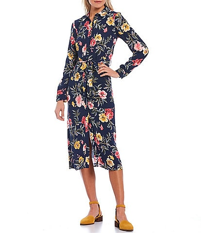 Joules Aurelie Floral Print Woven Long Sleeve Button Front A-Line Shirt Dress