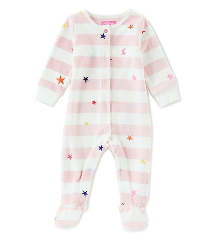 Joules Baby Girls Newborn-12 Months Cosmo Velour Printed Babygrow Footed Sleeper