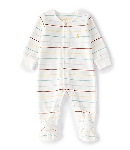 Joules Baby Preemie-9 Months Long-Sleeve Striped Velour Babygrow