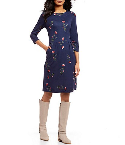 Joules Beth Floral Print Knit Dress
