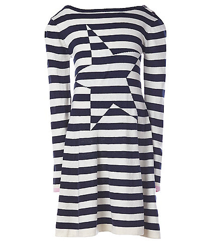 Joules Big Girls 7-12 Janey Stripe Star Knitted Swing Dress