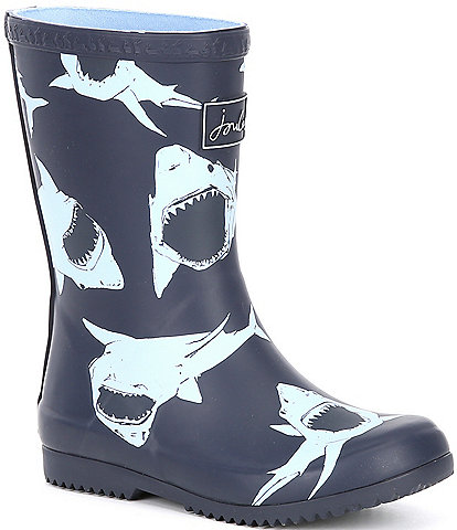 Joules Boys' Roll-up Welly Shark Print Rain Boots Toddler