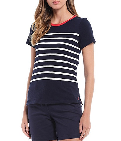 Joules Carley Striped Crew Neck Tee