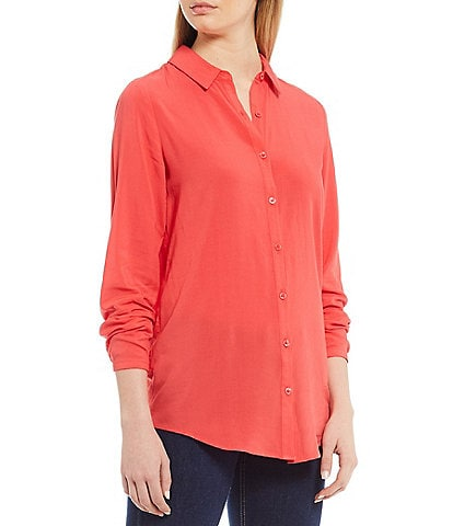 Joules Elvina Solid Color Woven Button Front Long Sleeve Shirt