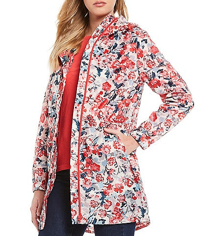 Joules Golightly Cream Floral Print Waterproof Packaway Long Sleeve Hooded Rain Jacket