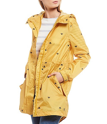Joules Golightly Gold Bee Print Waterproof Packaway Hooded Rain Jacket
