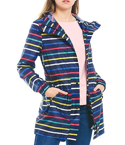 Joules Golightly Multi Stripe Print Waterproof Packaway Raincoat