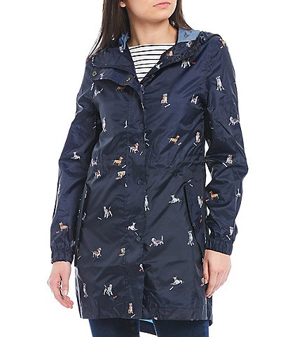 Joules Golightly Navy Dog Print Waterproof Packaway Hooded Rain Jacket