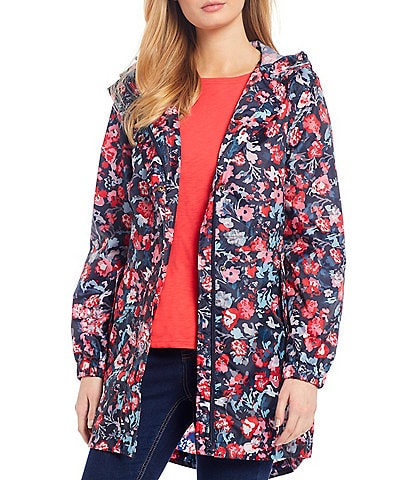Joules Golightly Navy Floral Print Waterproof Packaway Hooded Rain Jacket