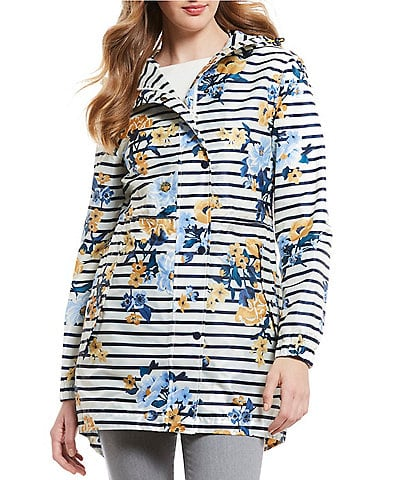 Joules GoLightly Pack-a-Way Striped Floral Print Rain Jacket