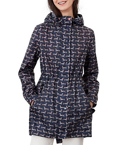 Joules Golightly Sausage Dog Print Waterproof Packaway Raincoat