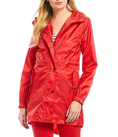 Joules GoLightly Solid Button Front Hooded Rain Jacket