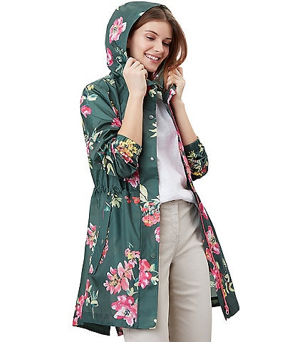 Joules Golightly Stand Collar Hooded Hi-Low Hem Floral Jacket