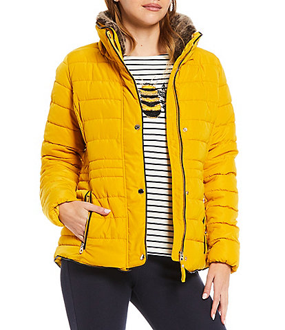 Joules Gosway Faux Fur Water-Resistant Stand Collar Removable Hood Long Sleeve Rain Jacket