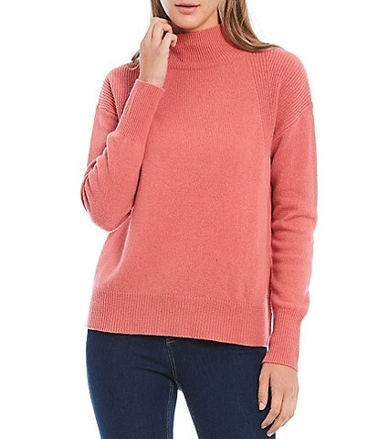 Joules Halton Wool-Blend Ribbed Detail Mock Neck Sweater