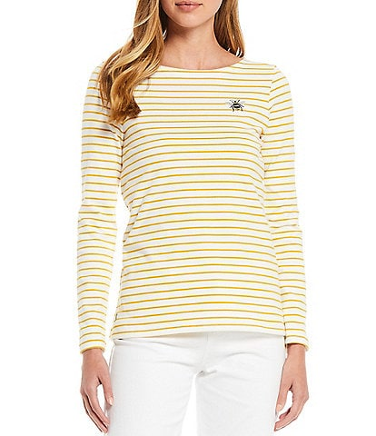 Joules Harbour Bee Stripe Long Sleeve Knit Jersey Top