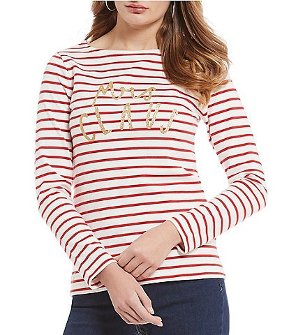 42facd8b2f8e0a Joules Harbour Holiday Mrs. Santa Claus Printed Knit Top
