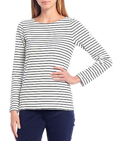 Joules Harbour Stripe Print Knit Jersey Long Sleeve Top
