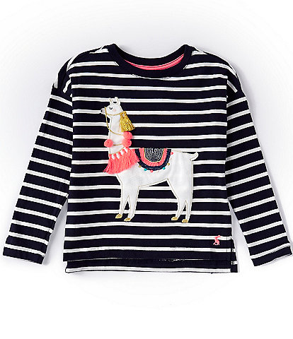 Joules Little/Big Girls 3-12 Long-Sleeve Lorelle Llama Stripe Tee