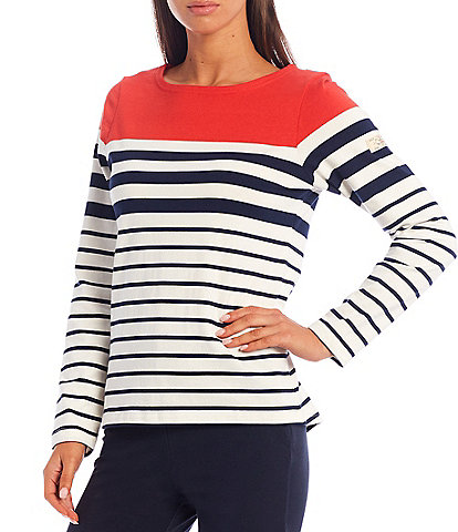 Joules Long Sleeve Harbour Stripe Jersey Knit Top