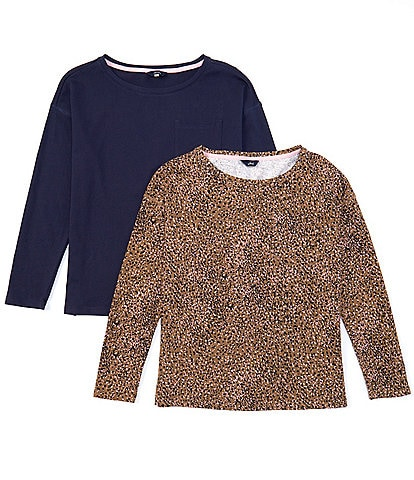 Joules Marina Solid & Leopard Print Knit Jersey 2-Pack Combo Drop Shoulder Long Sleeve Tee