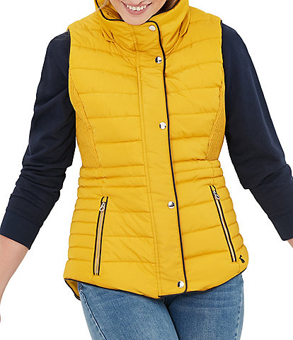 Joules Melford Faux Fur Detachable Hood Stand Collar Sleeveless Puffer Vest