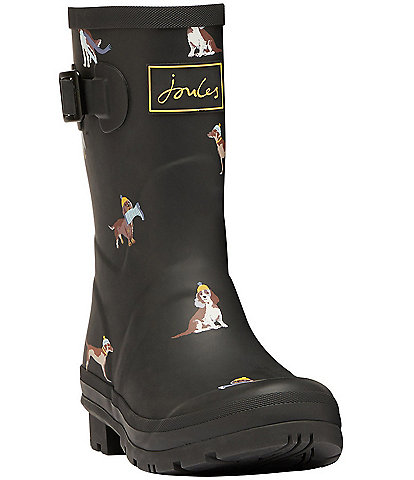 Joules Molly Welly Dog Print Mid Block Heel Rain Boots
