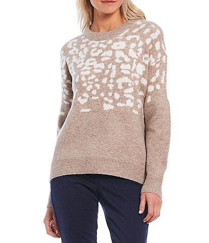 Joules Niamh Leopard Print Chunky Crew Neck Sweater