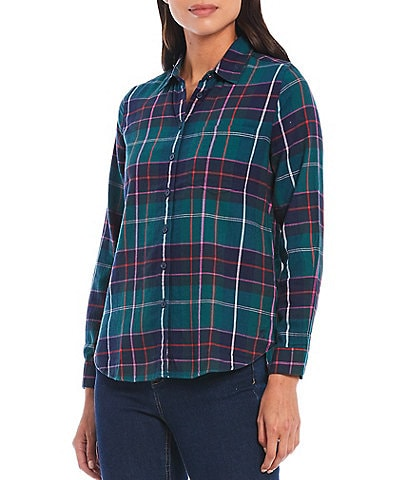 Joules Plaid Print Brushed Cotton Long Sleeve Button-Front Shirt