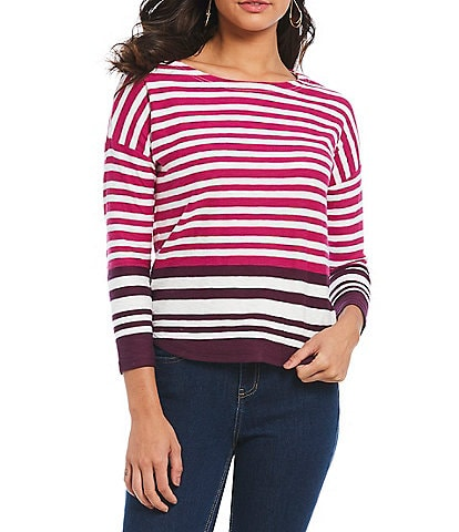 Joules Rima Button Back Stripe Jersey Top