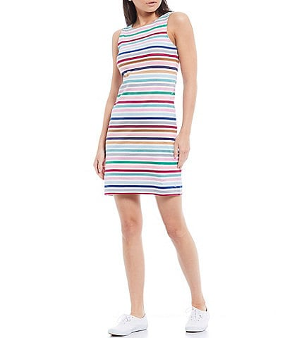 Joules Riva Cotton Multi Stripe Sleeveless Shift Dress