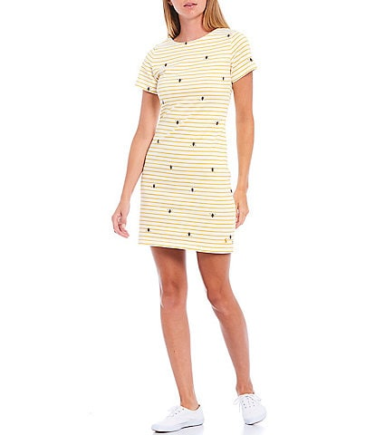 Joules Riviera Bee Stripe Print Cotton Knit Jersey Short Sleeve Shift Dress