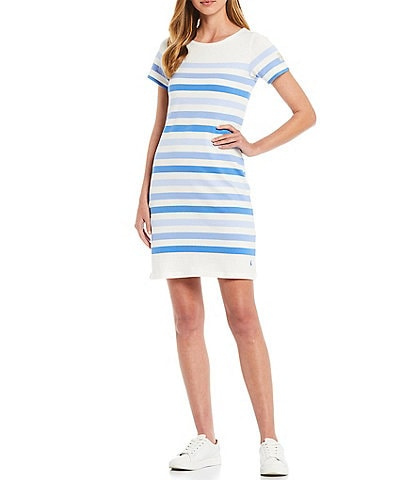 Joules Riviera Striped Crew Neck Short Sleeve Jersey Knit Shirtdress