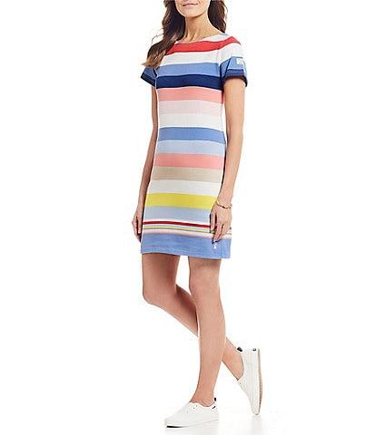 c9dc11762f Joules Riviera Striped Short Sleeve Sheath Dress
