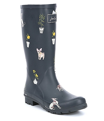 Joules Roll Up Welly Dog Print Rain Boots