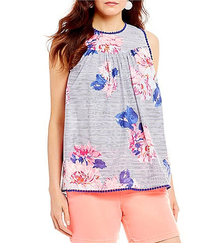 Joules Romella Floral Print Stripe Sleeveless Top
