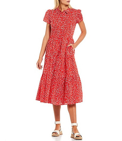 Joules Sadie Red Spot Point Collar Short Sleeve Dress