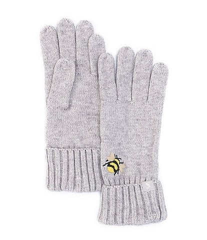 Joules Stafford Embroidered Bee Knit Gloves