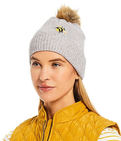 Joules Stafford Embroidered Bee Print Beanie